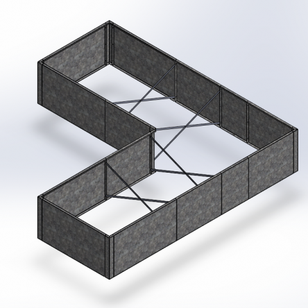 L-formet højbed i corten stål