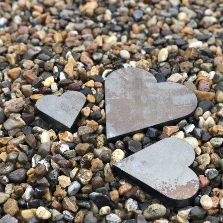 3 stk. hjerter i forskellige størrelser